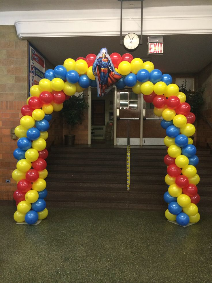 Balloon arch superhero party and captain america on pinterest for Balloon arch decoration