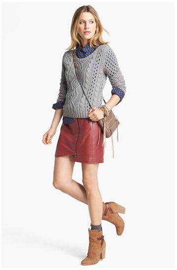 red or black leather skirt, NPG