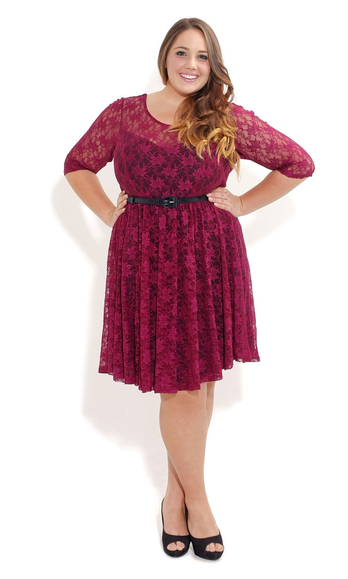 City Chic LACEY RED WINE DRESS