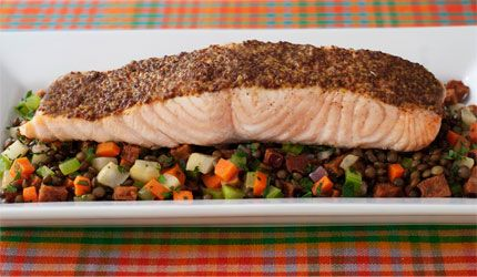 Broiled Salmon with Grainy Mustard Glaze and Warm Lentil Salad