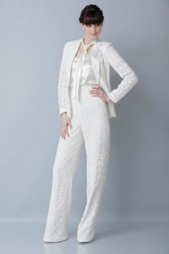 Theia spring 2013 bridal pant suit designer wedding for Wedding dress pant suits