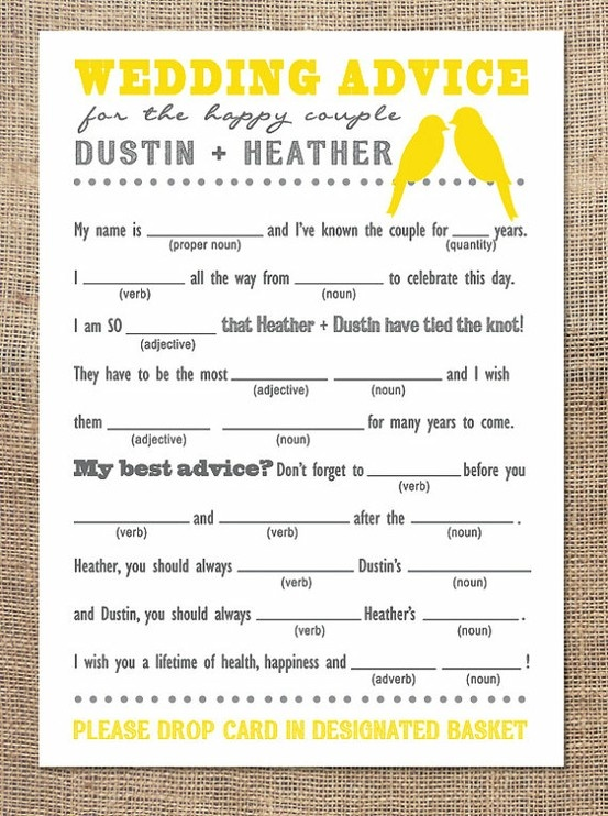 Wedding Gift List Advice : fill-in-the-blank wedding advice card Wedding Advice Pinterest