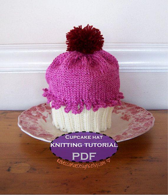 Knitted Cupcake Hat Pattern : Cupcake Hat knitting tutorial & pattern Sewing Patterns Pinterest