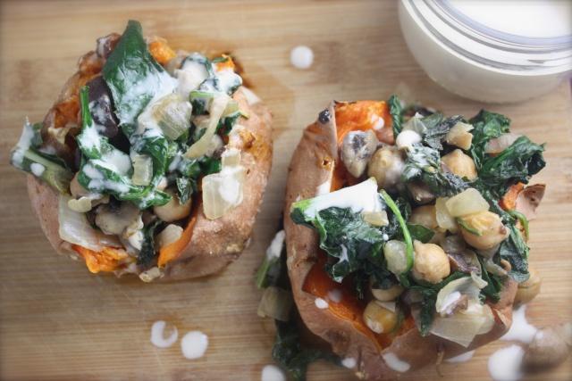 kale, mushroom, chickpea stuffed sweet potatoes.