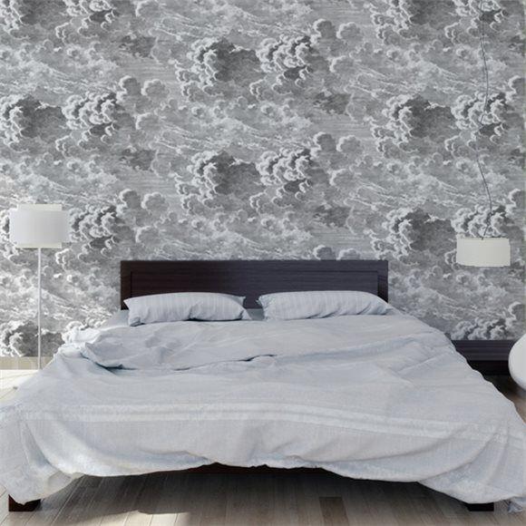 Papier peint nuages noir et blanc nuvolette cole and son for Papier peint salle de bain leroy merlin