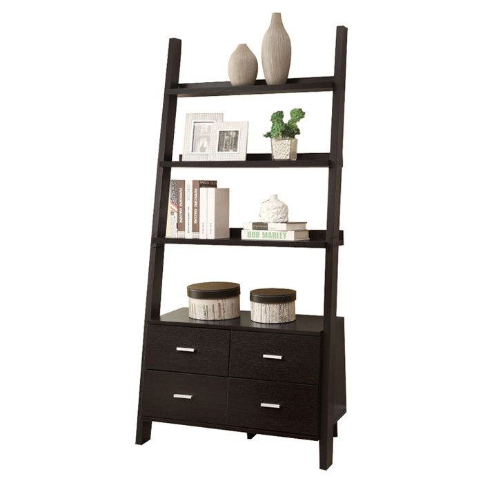 Ladder-style bookshelf with three shelves and four bottom drawers ...