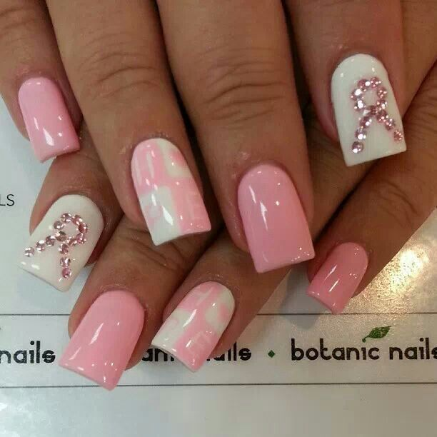 Breast cancer awareness nails | All About My Nail Obbession | Pintere