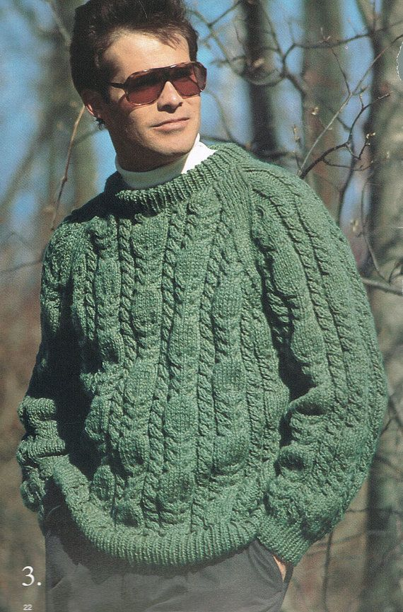 Knitting Pattern Mens Cable Knit Crew Neck Sweater Chest Sizes 34 36?