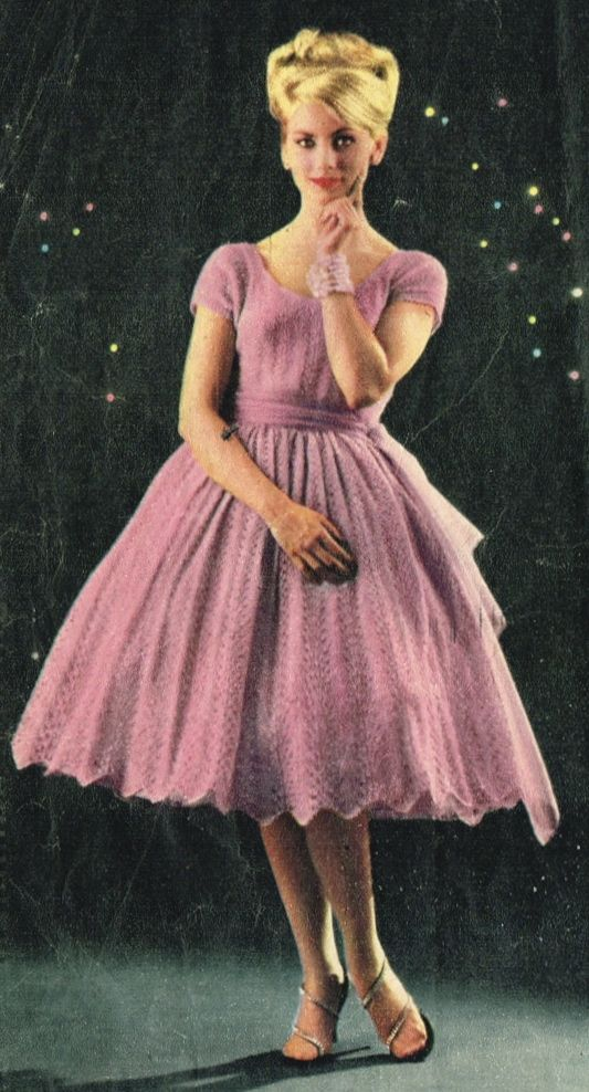 Knitting Pattern Lace Dress : Vintage knitted dress pattern Knitted Lace Dress Pinterest