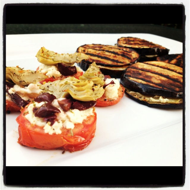 ... cheese filled eggplant sandwiches & artichoke feta tomatoes....YUM