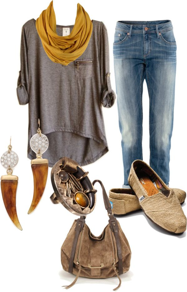 use applique shirt, mustard scarf, distressed jeans, canvas flats (scarf didn't work) wore mouse flats, cool earings, cool watch