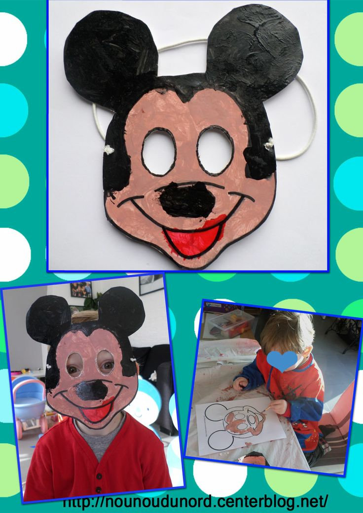 Masque Mickey réalisé par Gaspard, masque à imprimer sur mon blog