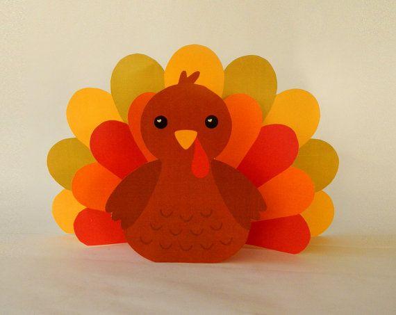 Instant download paper turkey centerpiece diy