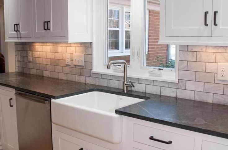 white cabinets, soapstone | Home