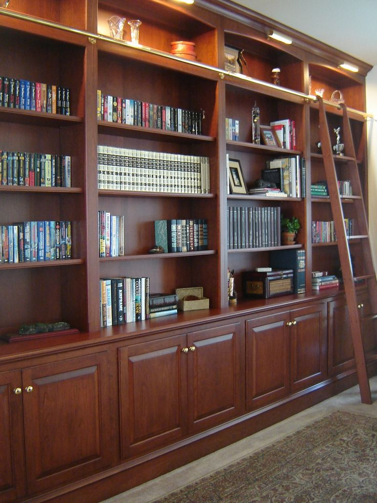Bookcase Wall With Ladder Office Library Ideas Pinterest
