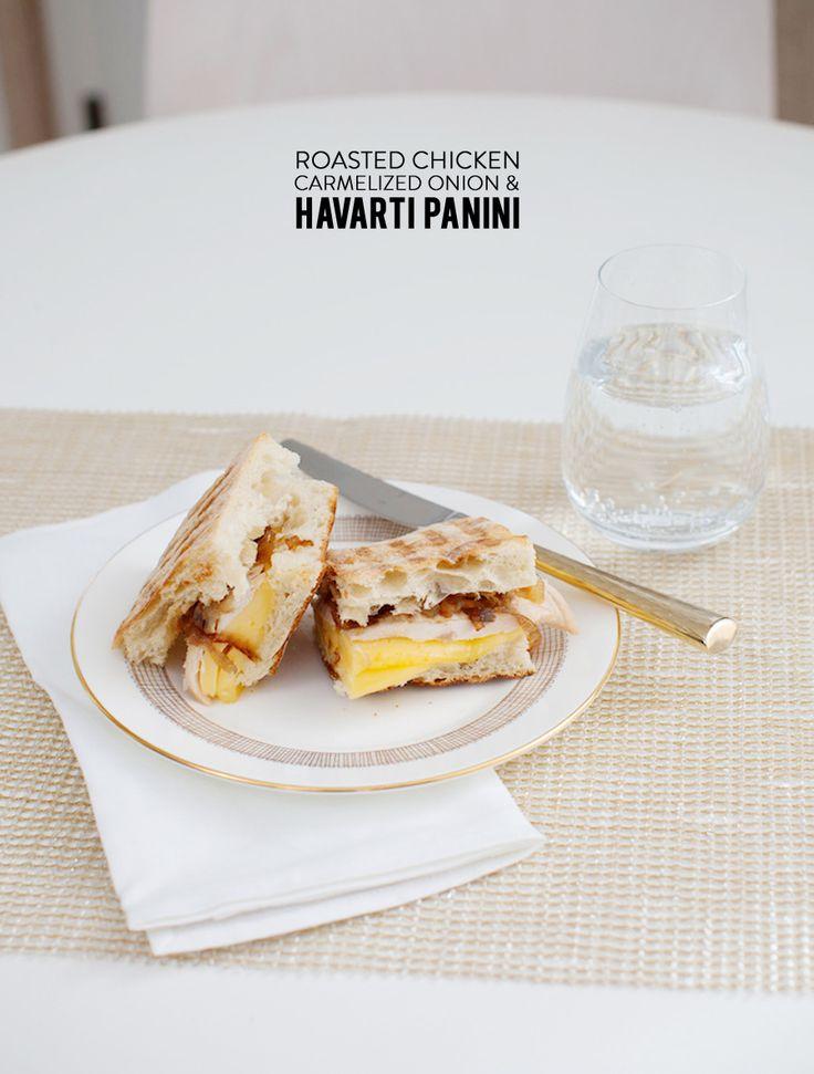 Roasted Chicken, Caramelized Onion Havarti Panini #recipe