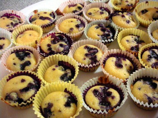 Mini Wine-Soaked Blueberry Cornbread Muffins
