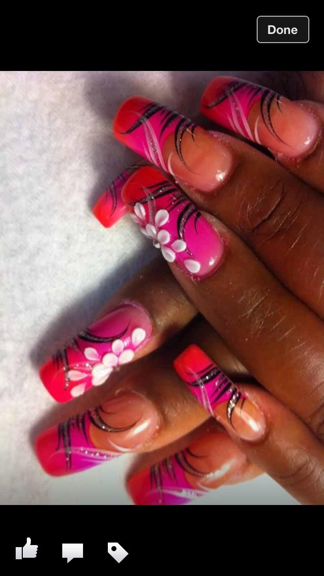 Gel Nail hand painted airbrush designs. | Nails | Pinterest
