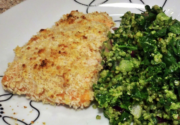 ... Crusted Salmon served with Quinoa Kale Dish and Coconut Cream Pie