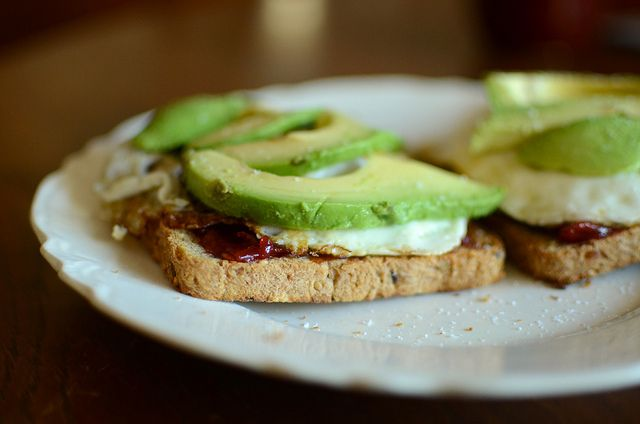 Fried Eggs, Avocado, and Tomato Jam open breakfast sandwiches, by ...