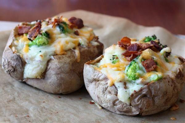 Super stuffed baked potatoes. Stuffed with creamy mashed potatoes ...