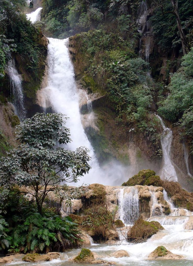 The Kuang Si Falls, a three tier waterfall about 30km south of Luang Prabang.