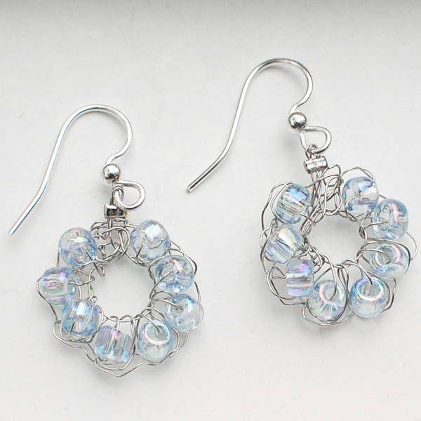 beaded crochet wire earrings