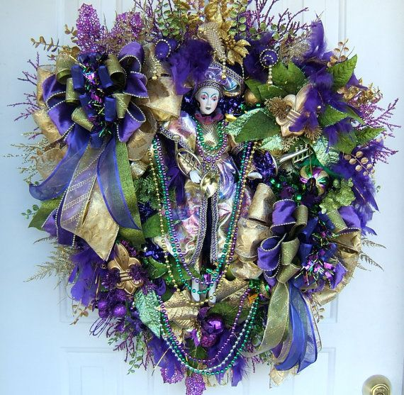 Unique Mardi Gras door wreath