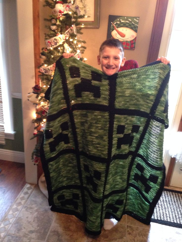 Minecraft creeper crochet afghan blanket minecraft ...