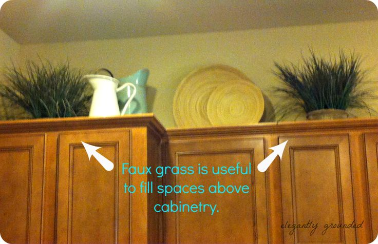 Decorating above kitchen cabinets for the home pinterest for Above cupboard decoration ideas