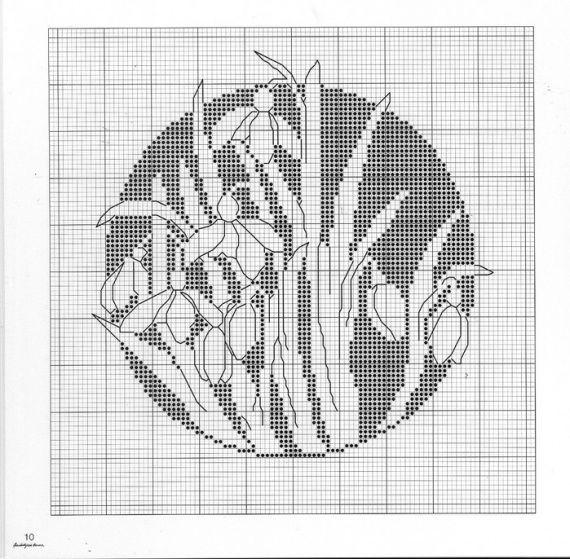 Схемы для вышивки монохром цветы 103