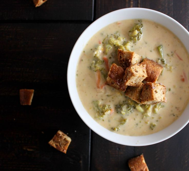 Broccoli-cheddar soup with garlic brown butter croutons