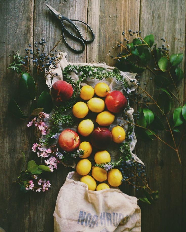peaches, rosemary, lemons | food in dark tones 2. | Pinterest