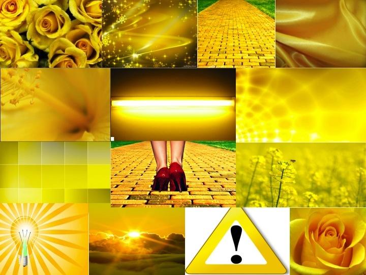 Energy, sunshine, warmth, joy, happiness, caution, warning, vision, intellect, creativity, and light