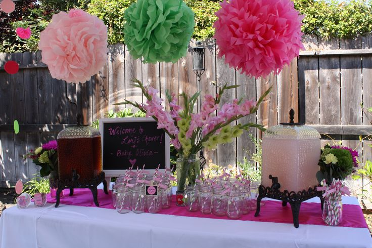 Baby Shower Drink Station Pink Lemonade And Mango Iced