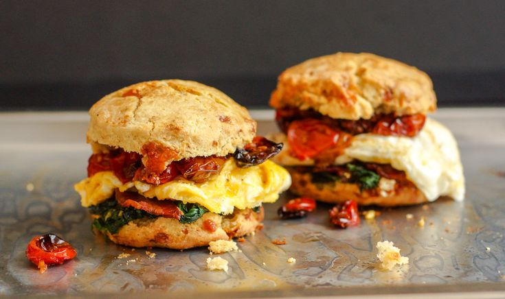 Blue Cheese Biscuit Sandwich with Bacon, Egg, Oven-Roasted Tomatoes ...
