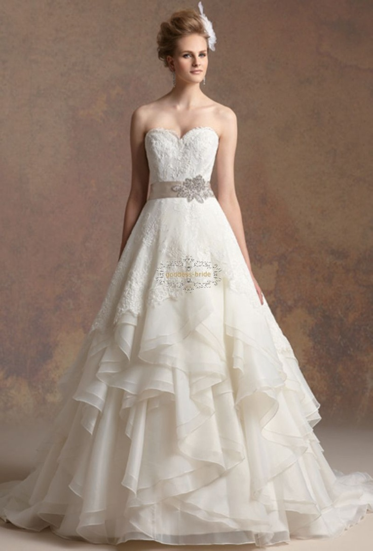 2013 new style custom with belt organza and lace a line for Long flowy wedding dresses