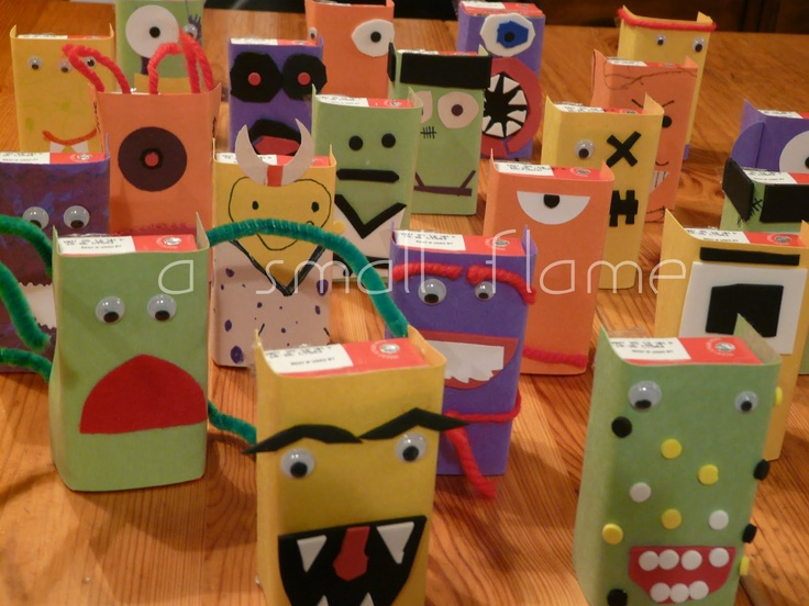 Juice box monsters | Halloween | Pinterest
