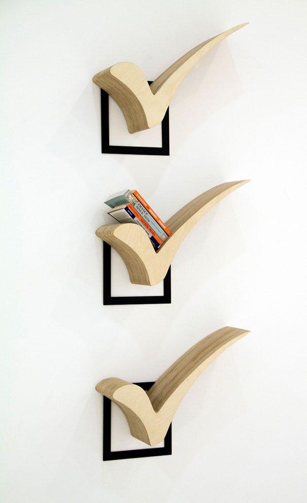 Häkchen-Bücherregale // check bookshelves http://www.boredpanda.com/creative-bookshelves/#