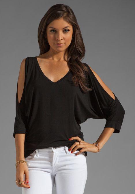 black cold shoulder top my style pinterest. Black Bedroom Furniture Sets. Home Design Ideas