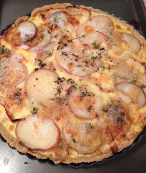 my very own red potato, blue cheese & rosemary tart
