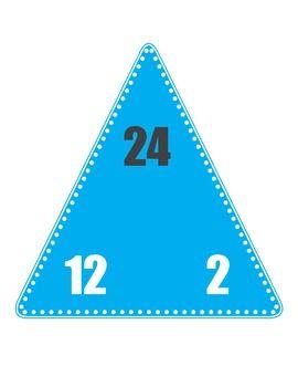 triangle multiplication flash cards pdf