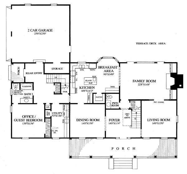 Colonial cottage country farmhouse southern traditional Traditional colonial floor plans