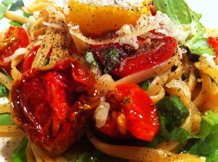slow roasted tomatoes, fresh basil, whole wheat pasta, Meyer lemon ...