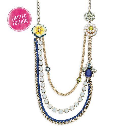 Vintage Florets Long Layered Necklace
