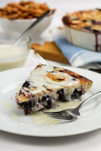 healthy cherry almond clafoutis with faux creme anglaise