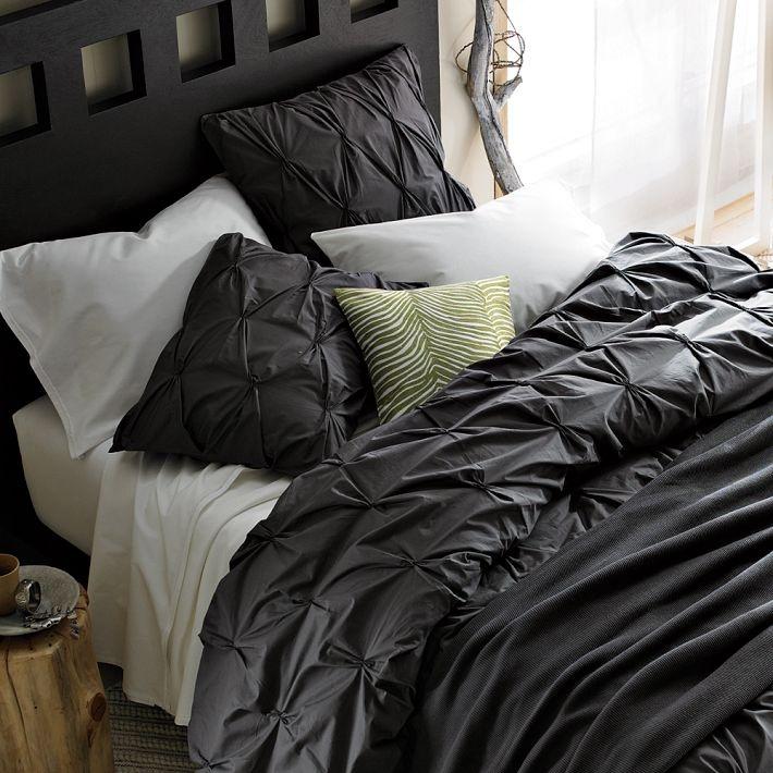 organic cotton pintuck duvet cover shams slate. Black Bedroom Furniture Sets. Home Design Ideas