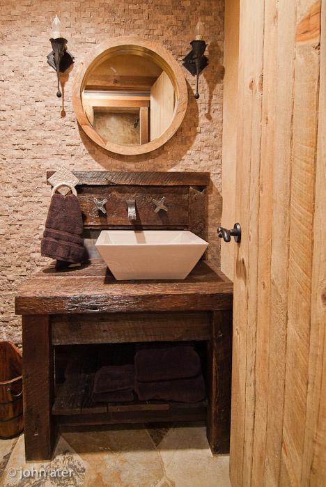 Rustic Powder Room Bathing Rooms Pinterest