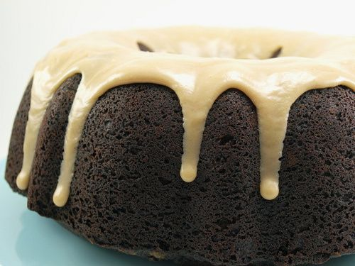 Double Chocolate Chip Bundt Cake with Peanut Butter Glaze