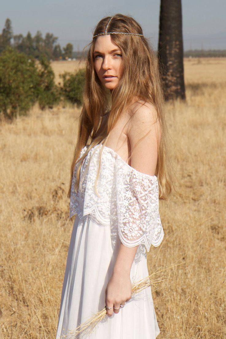 BohemianWedding Dresses Lace Ivory White Off The Shoulder 70s Hippie